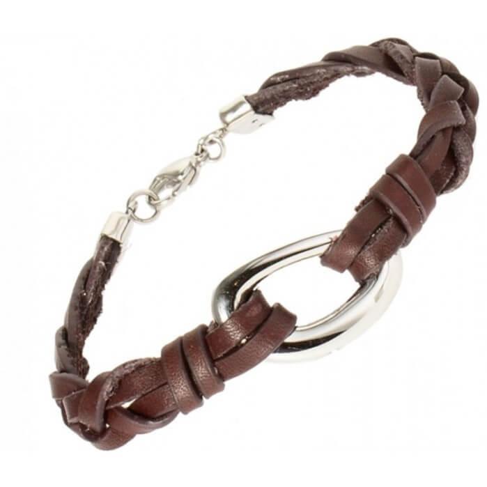 Asche Armband Aus Geflochtenem Leder Und Edelstahl